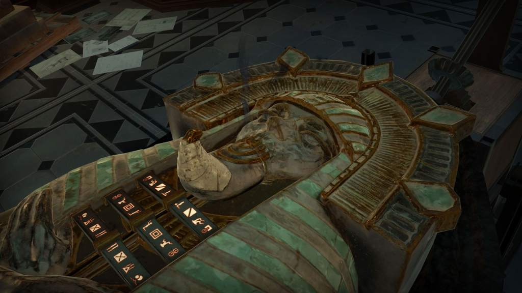 VR: an Egyptian sarcophagus with a puzzle on its chest.