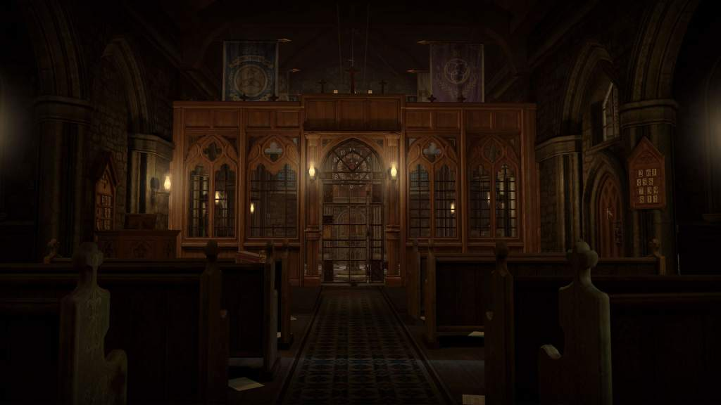 VR: a dramatically lit chapel with ornate wood work.
