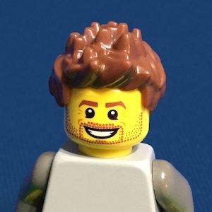 James as a Lego person headshot.