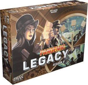 Pandemic Legacy Sason 0 with 1960s characters on the box.