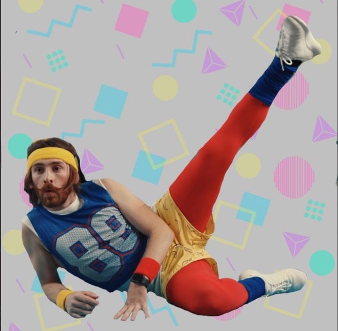 A very 80s looking person exercising against an 80s pastel background.