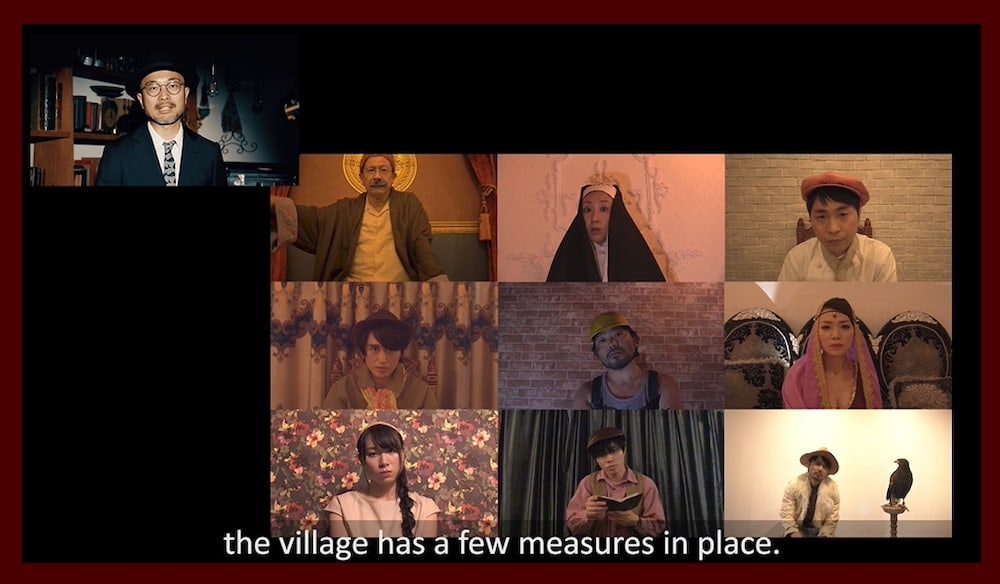 "A 3x3 video call tile with 9 different characters and a narrator off to the side. The image is captioned, ""the village has a few measures in place."""