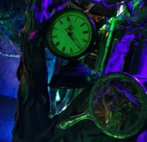A clock and a mirror hanging from a tree.
