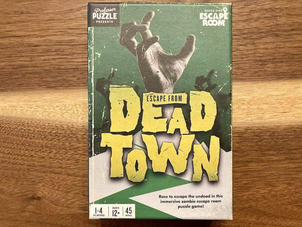 Escape From Dead Town green box art with a zombie hand reaching up.