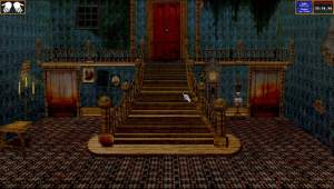 Haunted foyer of the Amberly Manor point & click puzzle game. The cursor is a skeletal hand.