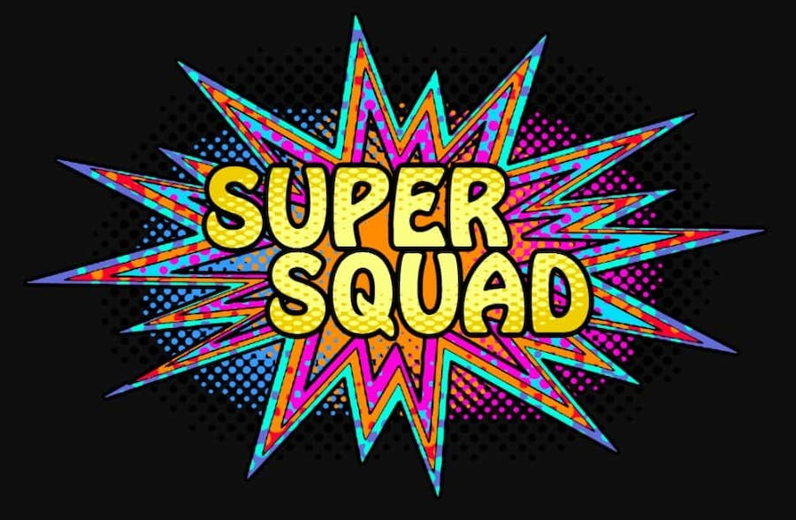 Comic booky Super Squad logo.