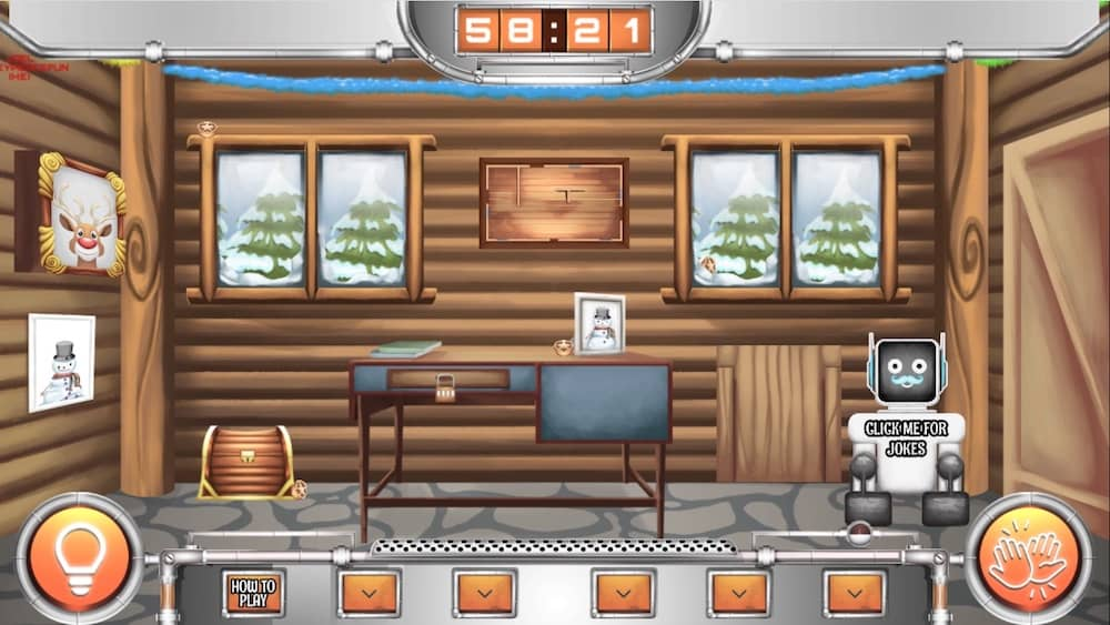 The robot BRUCE in a wintery log cabin ready for point & click fun.