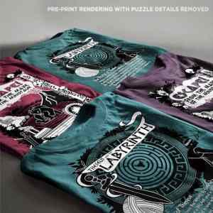 Assortment of t-shirts showing the front and back designs in assorted colors.