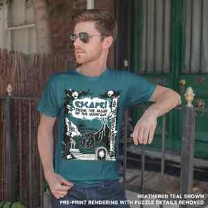 Model wearing teal t-shirt with the puzzles removed.
