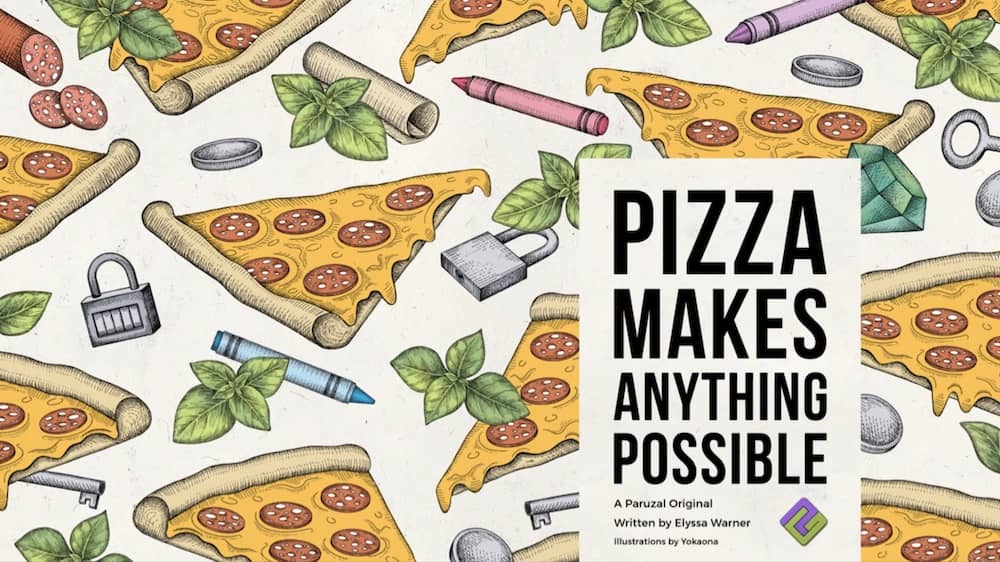 Illustrated title art for Pizza Makes Anything possible contains pizza, locks and crayons.