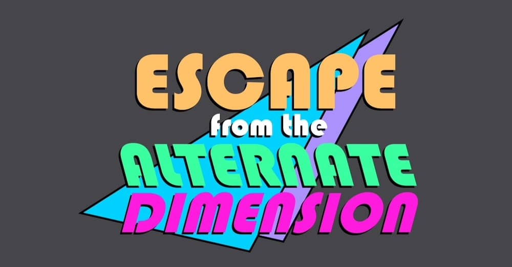 80s pastel logo for Escape from the Alternate Dimension.