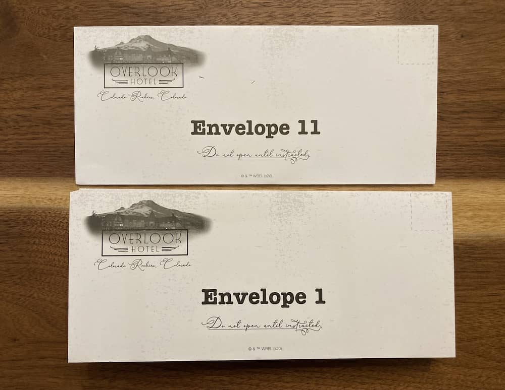 Numbered envelopes from the Overlook Hotel.