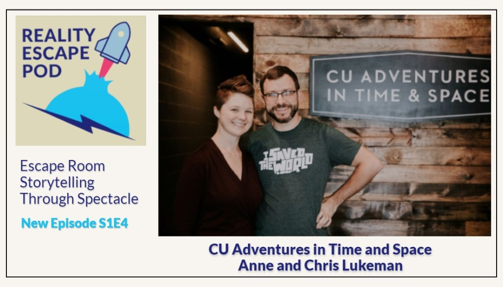 man and woman posing next to a sign that says CU Adventures in Time and Space