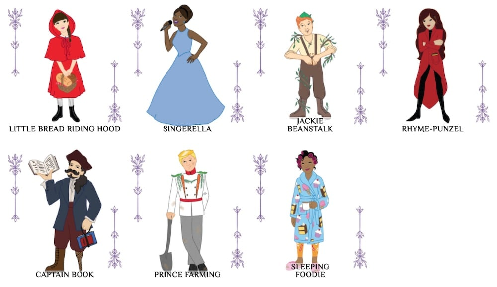 7 illustrated characters from Enchanted Realms: Little Bread Riding Hood, Singerella, Jackie Beanstalk, Rhyme-punzel, Captain Book, Prince Farming, & Sleeping Foodie.""