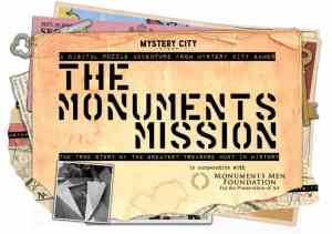 The Monuments Mission logo from Mystery City includes an assortment of documents and keys.