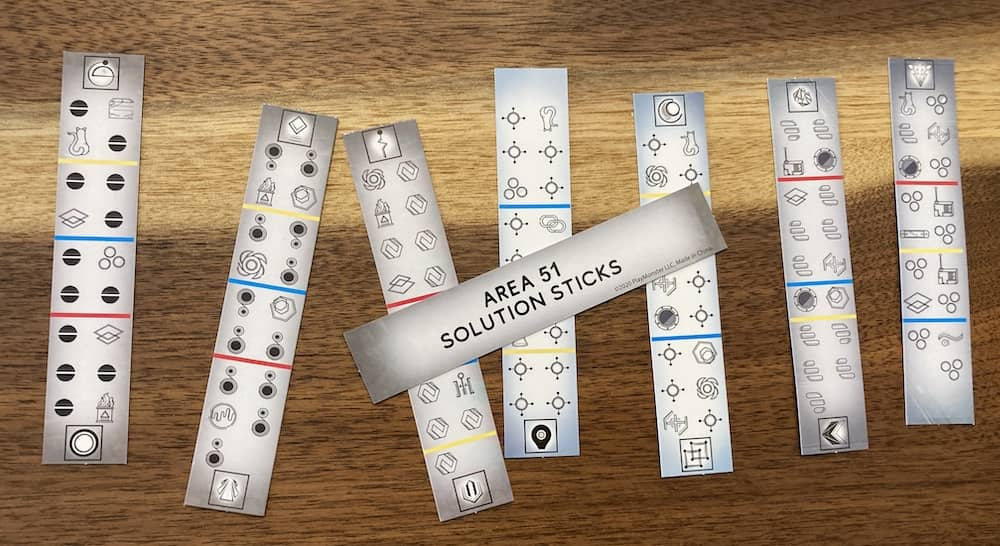 Solution sticks covered in symbols and colored lines.