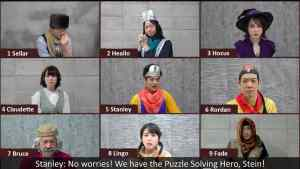"""9 Heroes in a video call one is saying, """"No worries! We have the Puzzle Solving Hero, Stein!"""""""