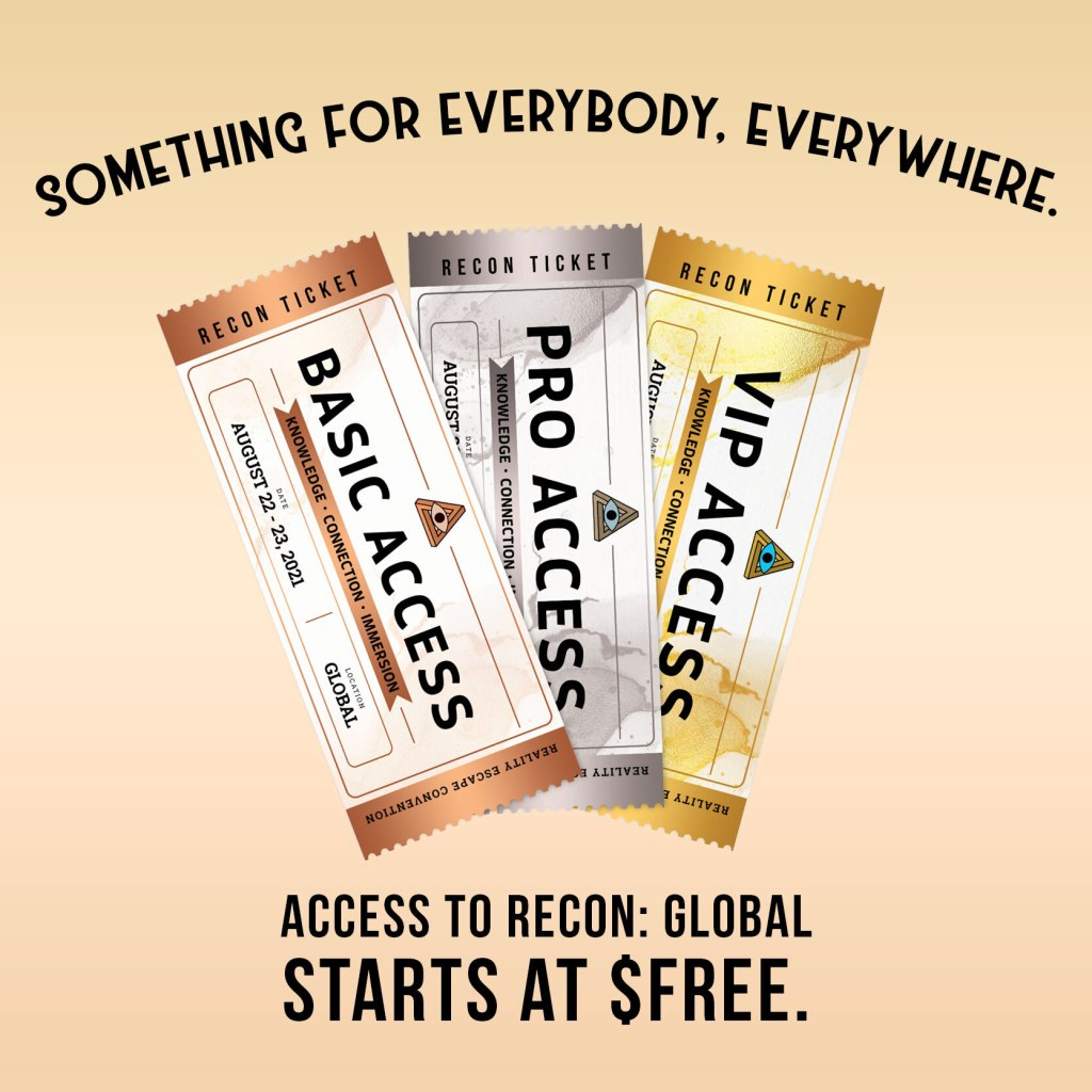 RECON 21 tickets, something for everybody, everywhere. Starts at Free.