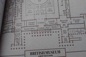 "A map labeled ""British Museum Ground Floor."""