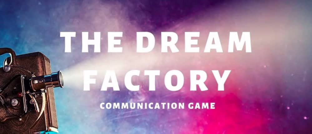 Dream Factory Communication Game title card, a star scape with a projector.