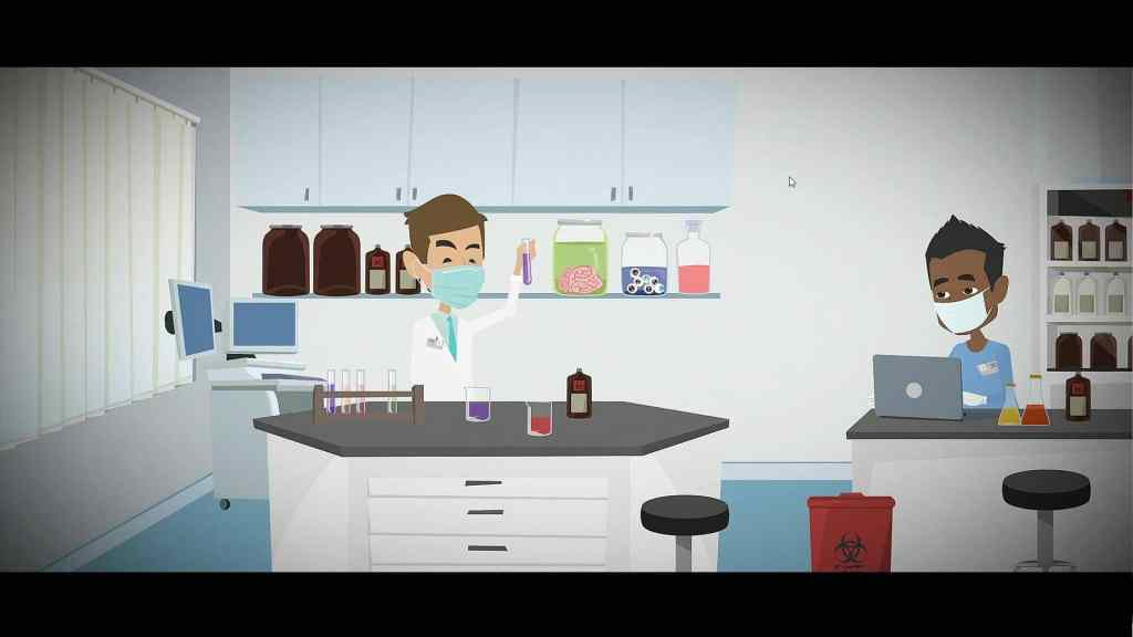 In-game animation of people in a medical lab.