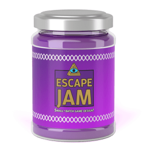 "Purple jar of Escape Jam, labeled, ""Small-batch game design!"""