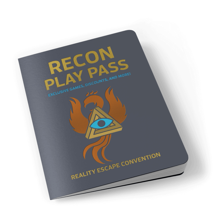 """A booklet labeled, """"RECON Play Pass, exclusive games, discounts, and more. Reality Escape Convention."""" In the middle is the RECON 21 phoenix icon."""""""