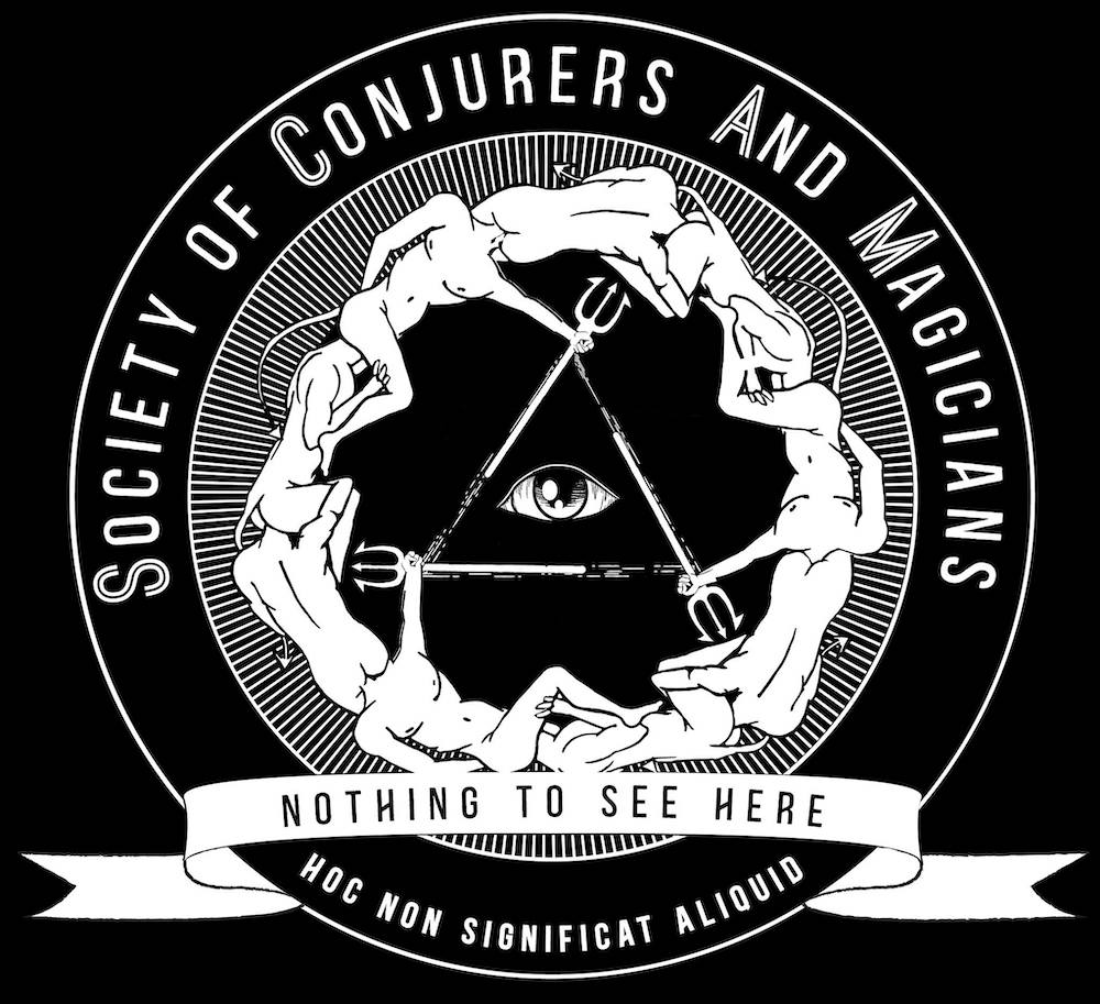 Society of Conjurers And Magicians logo depicts many people with devil tails arranged in a circle with their heads up one anothers' asses.
