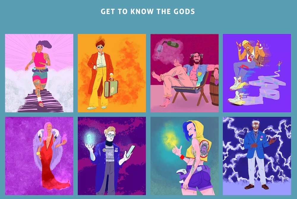 """Page reads, """"Get to know the gods."""" 8 illustrations of modern interpretations of the Gods of Olympus are illustrated."""
