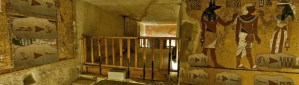A panoramic view of art and hieroglyphics in an ancient Egyptian tomb.