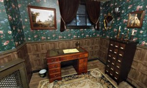 An old study filled with antique furniture.