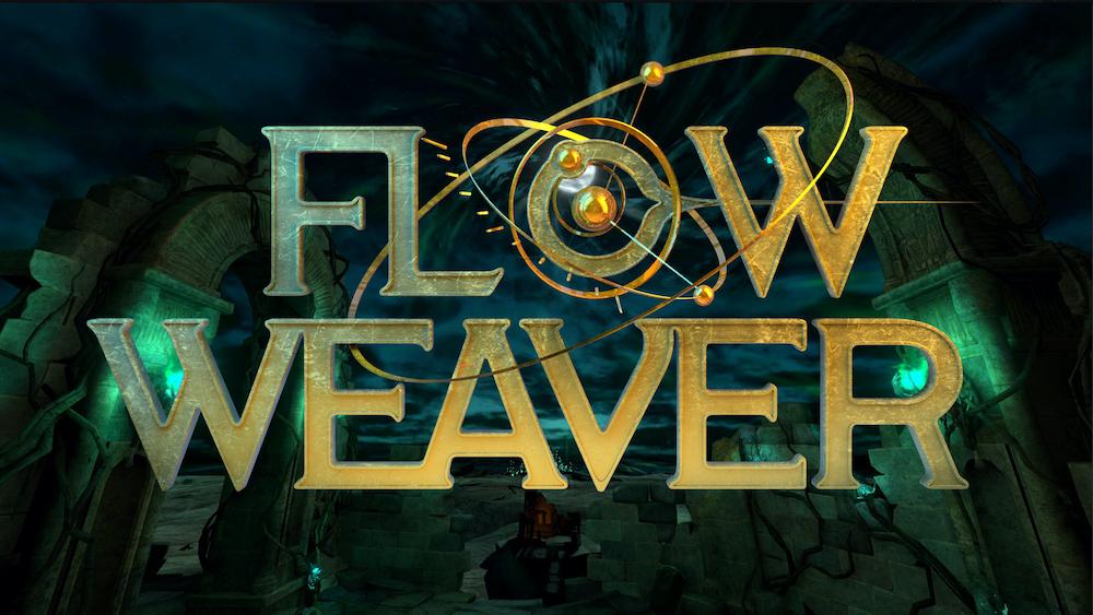 Flow Weaver title art, set in a 3D rendered VR world.