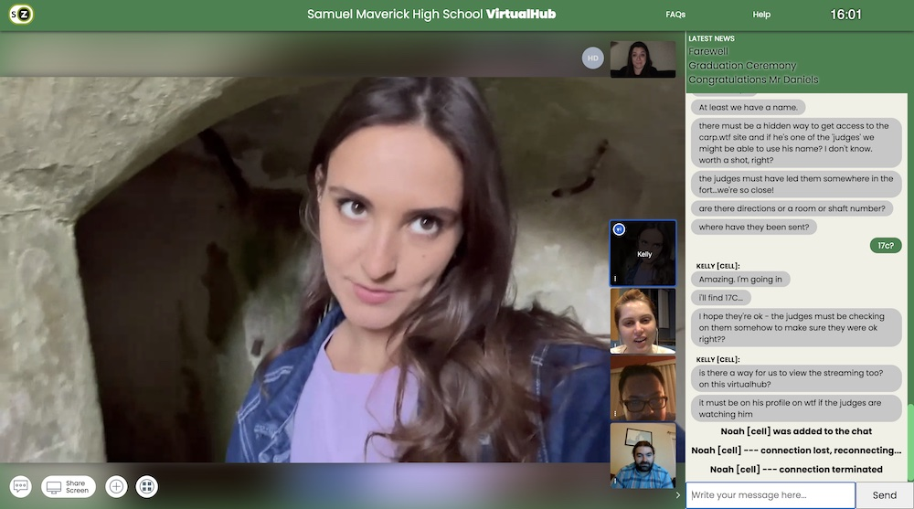 A woman viewed through a camera on video chat.