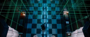 Escape Room movie scene in a bank with a laser grid.