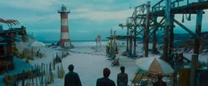 Escape Room movie scene on a beach with a lighthouse.