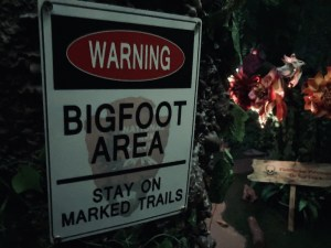 """Warning sign reads, """"Bigfoot area - stay on marked trails."""""""
