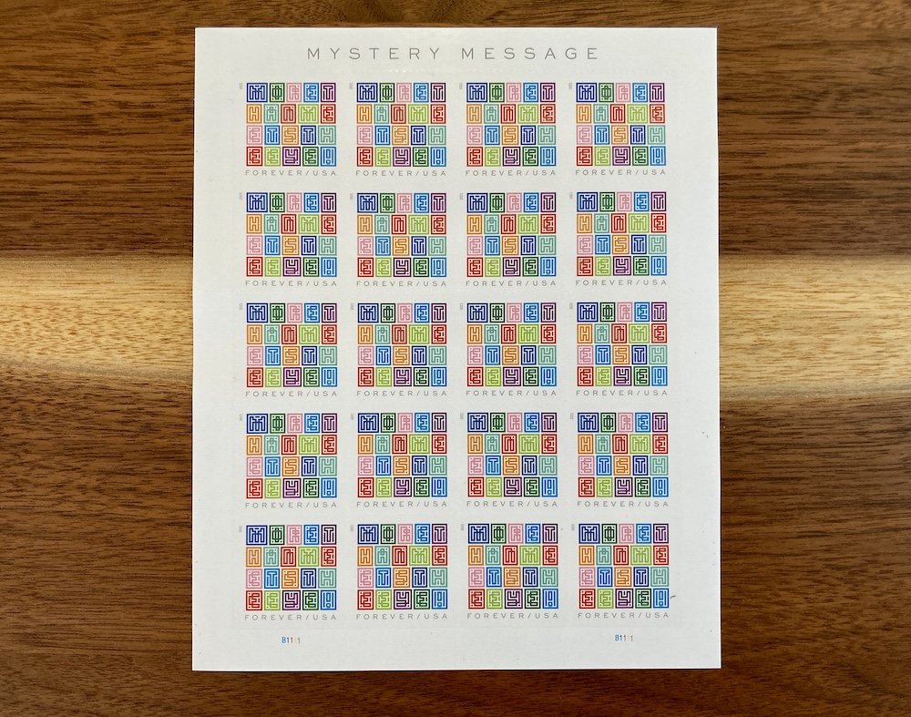 Book of 20 Mystery Message stamps.