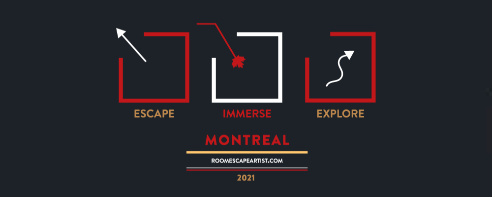 Escape Immerse Explore logo in red and white, abstractly mimicking the Canadian flag.