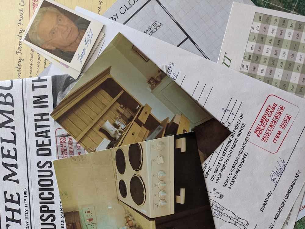 An assortment of crime evidence. In the center of the frame are two photos of an old kitchen.