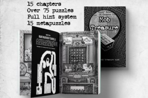 Mob Treasure book cover and open book displaying a puzzle.