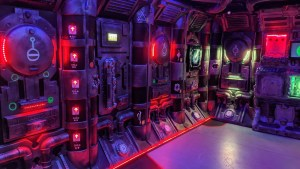 A spaceship's interior with lots of glowing buttons and symbols.