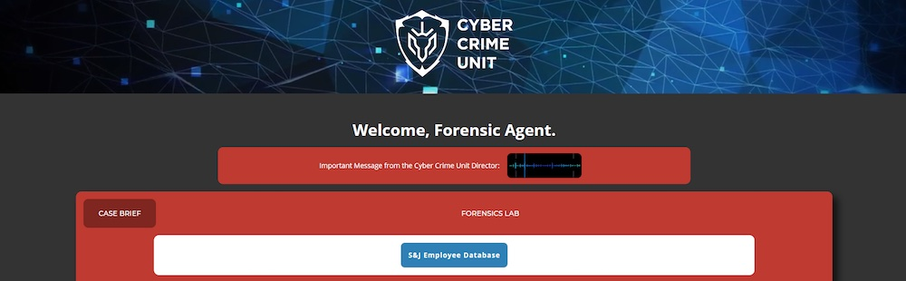 Cyber Crime Unit web page welcome's Forensic Agents.