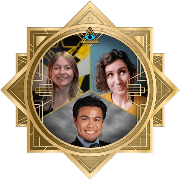 Saskia, Sarah, and Jayson in the art deco RECON frame.