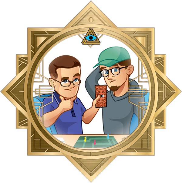 Illustration of Zach and Jared in the art deco RECON frame.