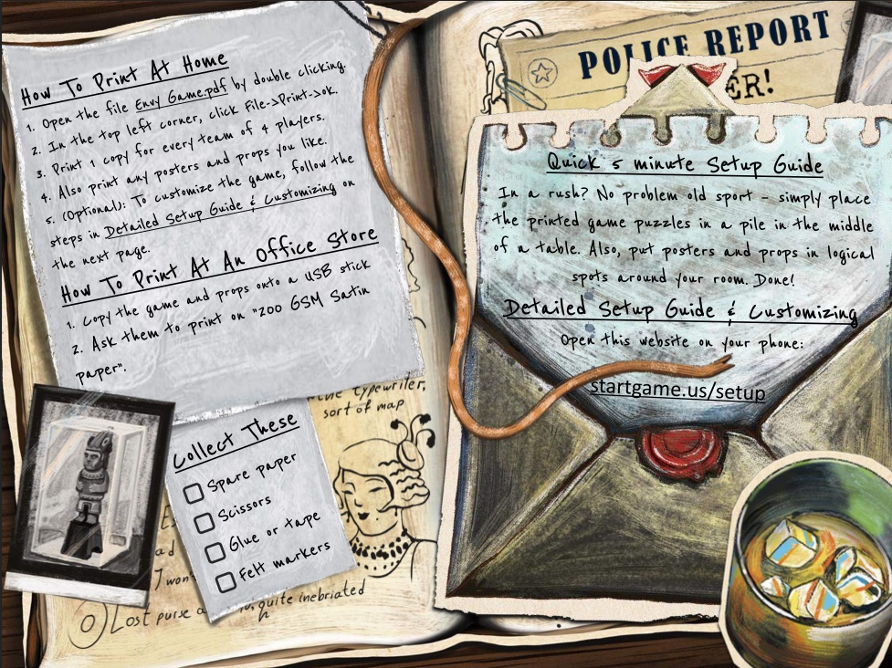 Illustrated set of game instructions.