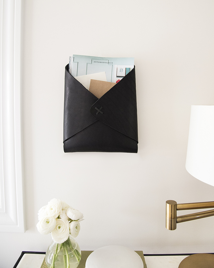 Leather Wall-Mounted Mail Catchall DIY