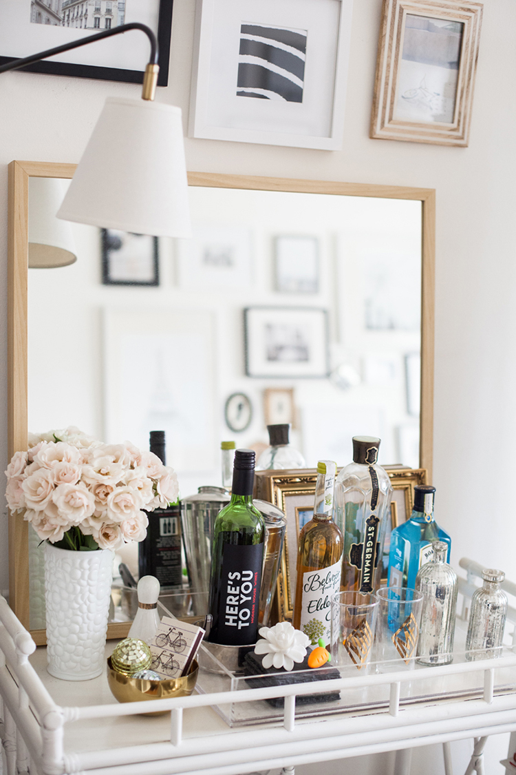 mirror behind bar cart