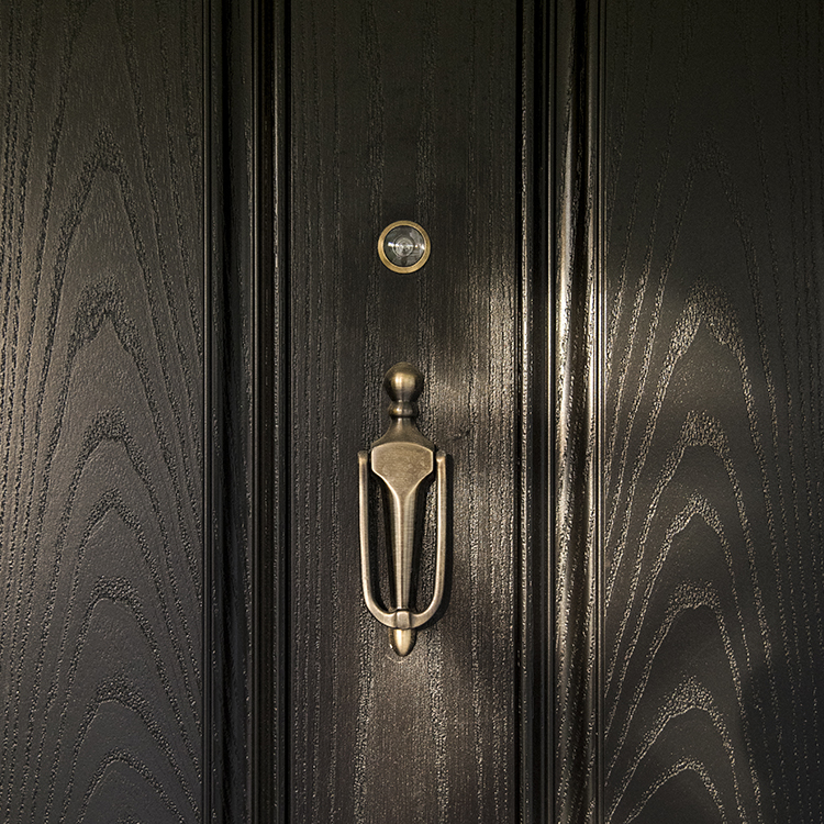 Front Door with Brass Hardware