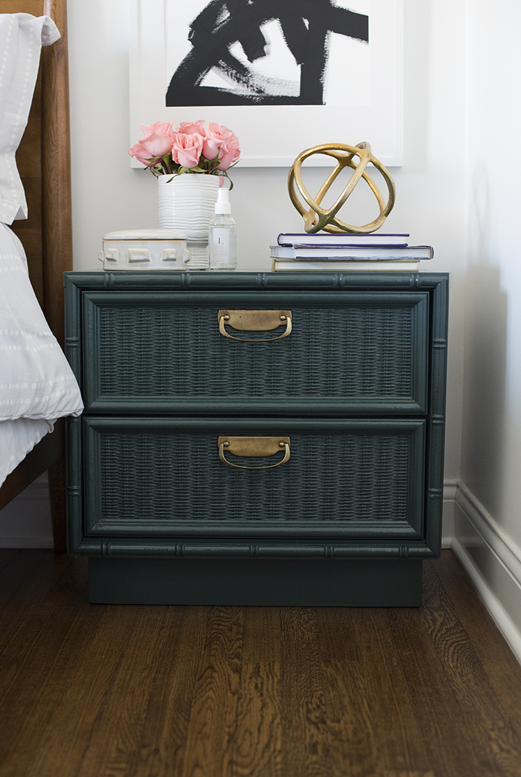 Teal and Brass Bamboo Nightstand