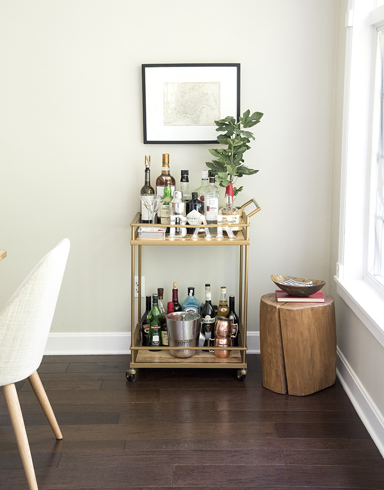 Bar Cart in Dining Room